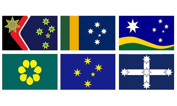 Os projetos alternativos (da esquerda para a direita, de cima para baixo): Reconciliation,  Sporting, Southern Horizont, Golden Wattle , Southern Cross e Eureka. O projeto Southern Horizon provou ser o mais popular, com o apoio de 31%. Fotografia: Western Sydney University