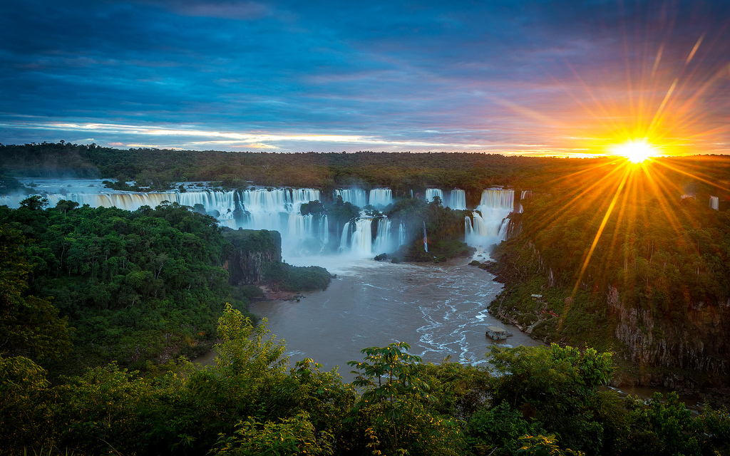Sunset at Iguassu Falls