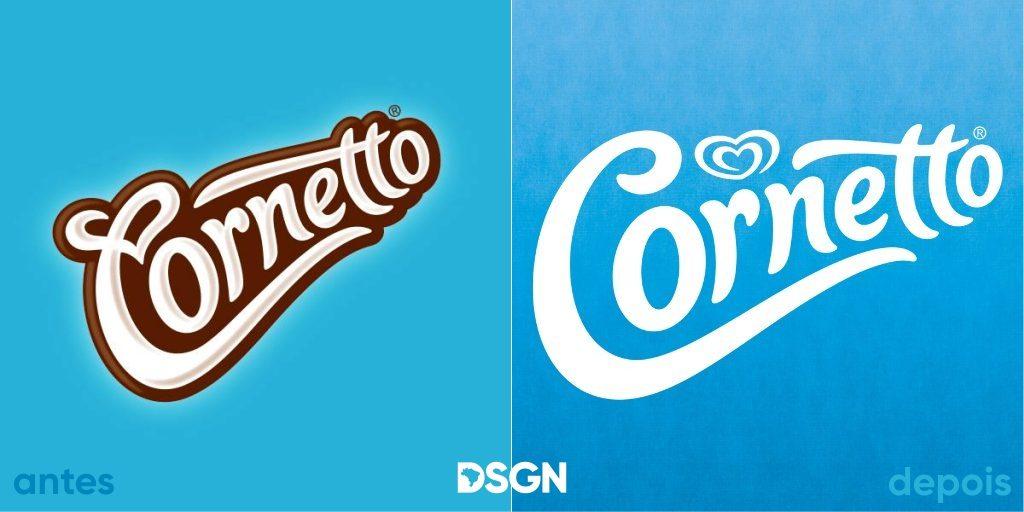 antes e depois logotipo cornetto